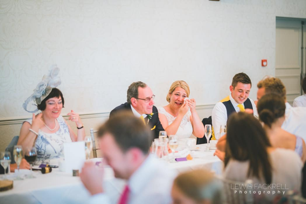 bride crying after speech