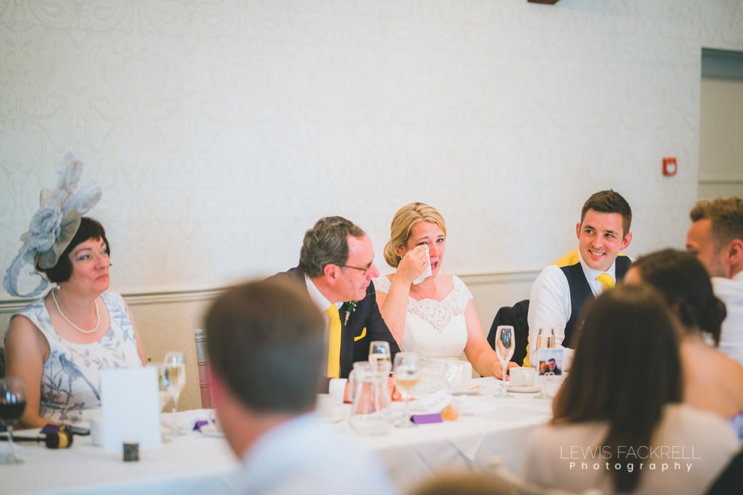 Bride crying during the speeches