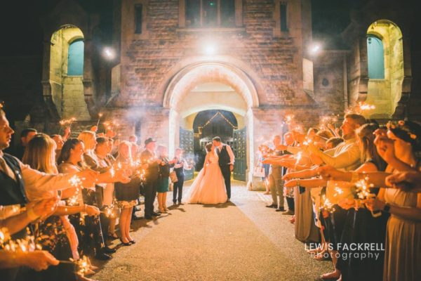 Wedding sparklers at thoresby riding hall