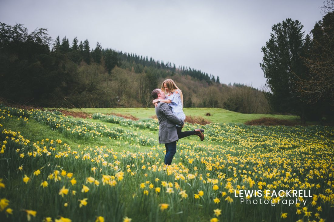 Buckland Hall pre-wedding photo session in field of Daffodils