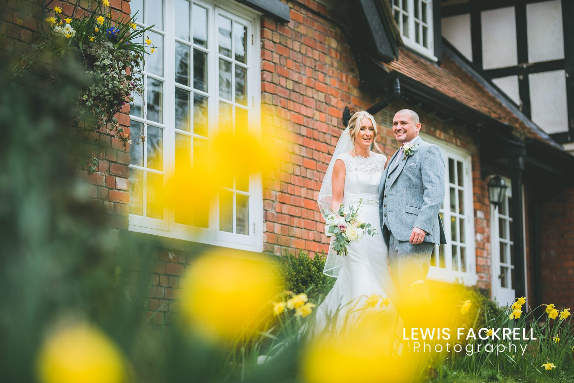 Coed y Mwstwr Wedding photography in spring with bride & Groom