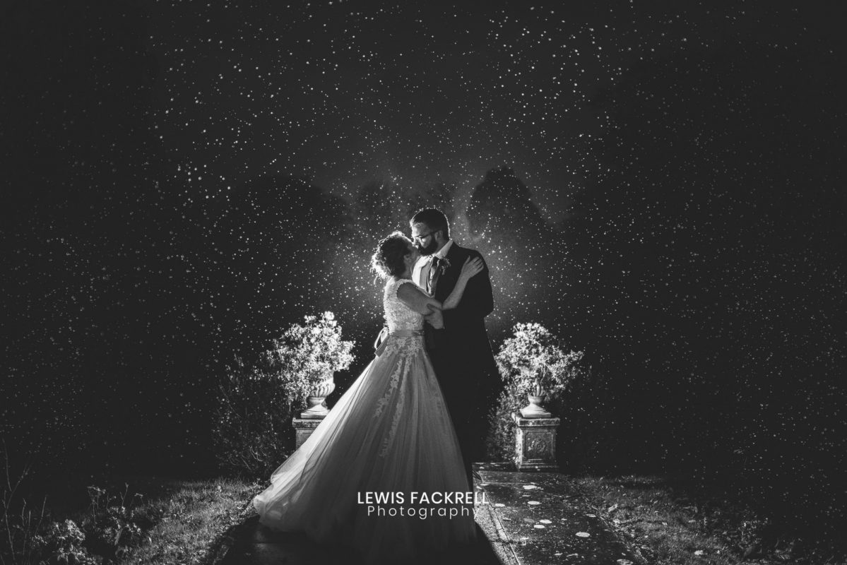 Rain at coed y mwstwr wedding photography in black and white