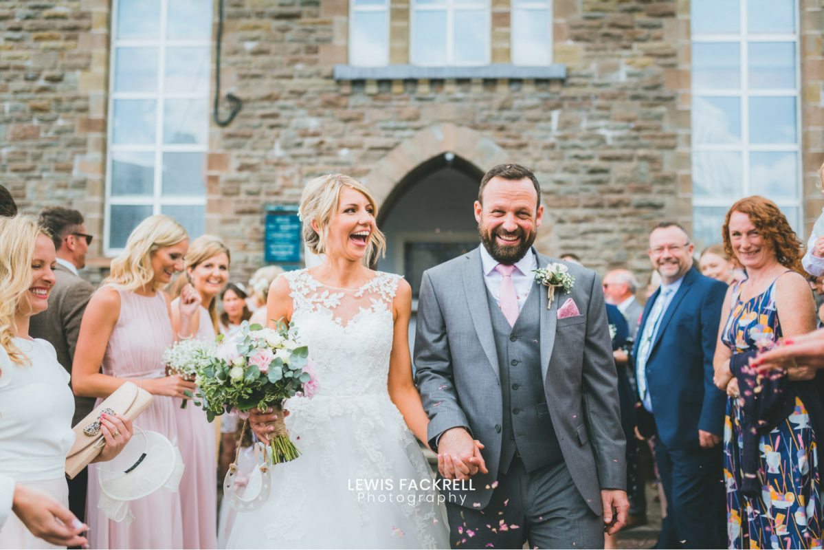 confetti over couple at pencoed house wedding