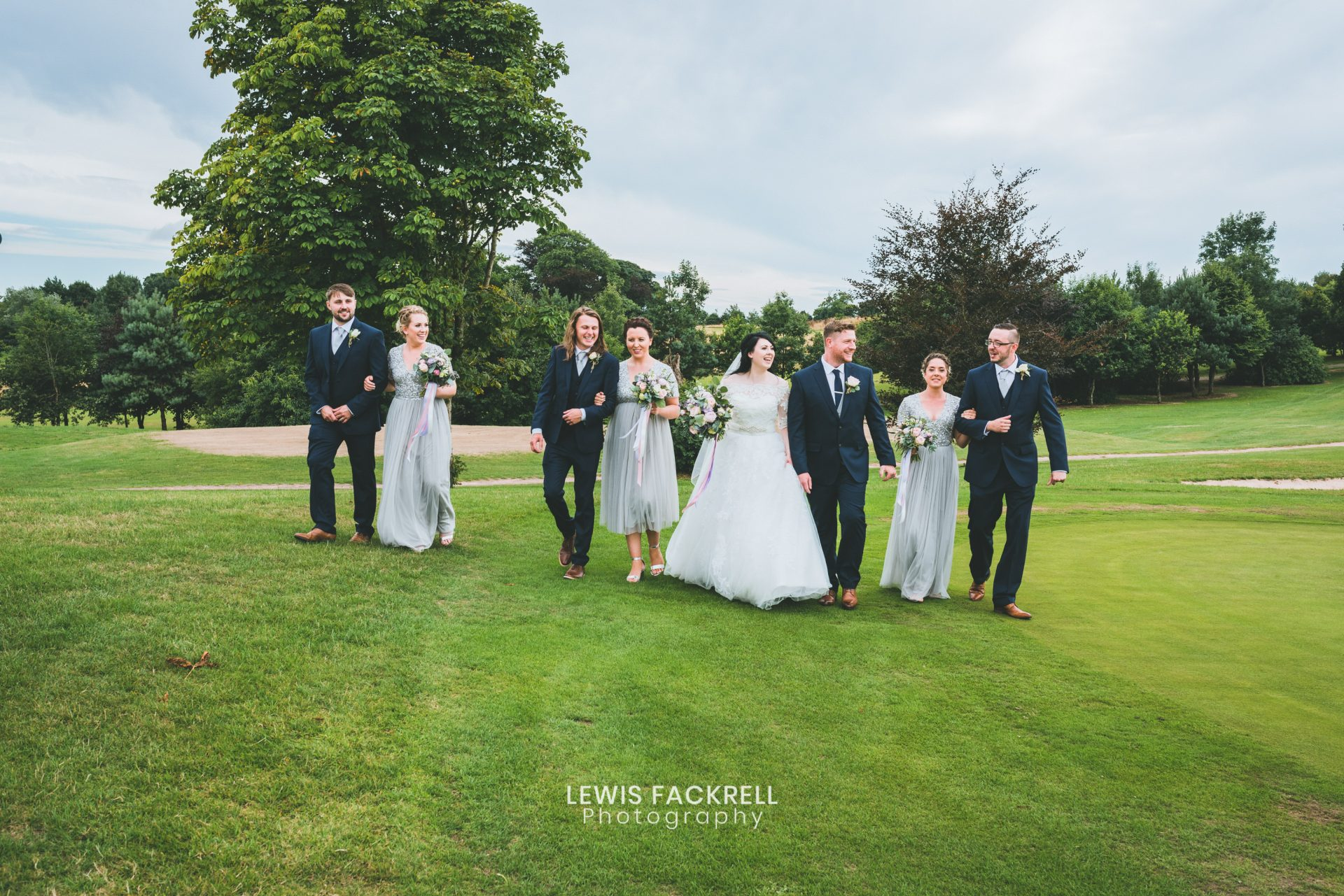 Formal group photos of bridesmaids and groomsmen