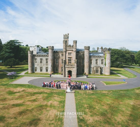 Hensol castle group photo in front of the castle as part of new wedding venues in South Wales