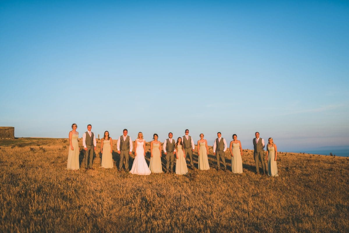 Group photos of bridal party in South Wales