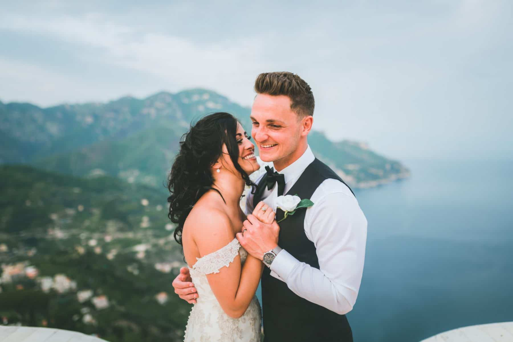 Bride and groom in ravello italy destination wedding photography Cardiff & South Wales