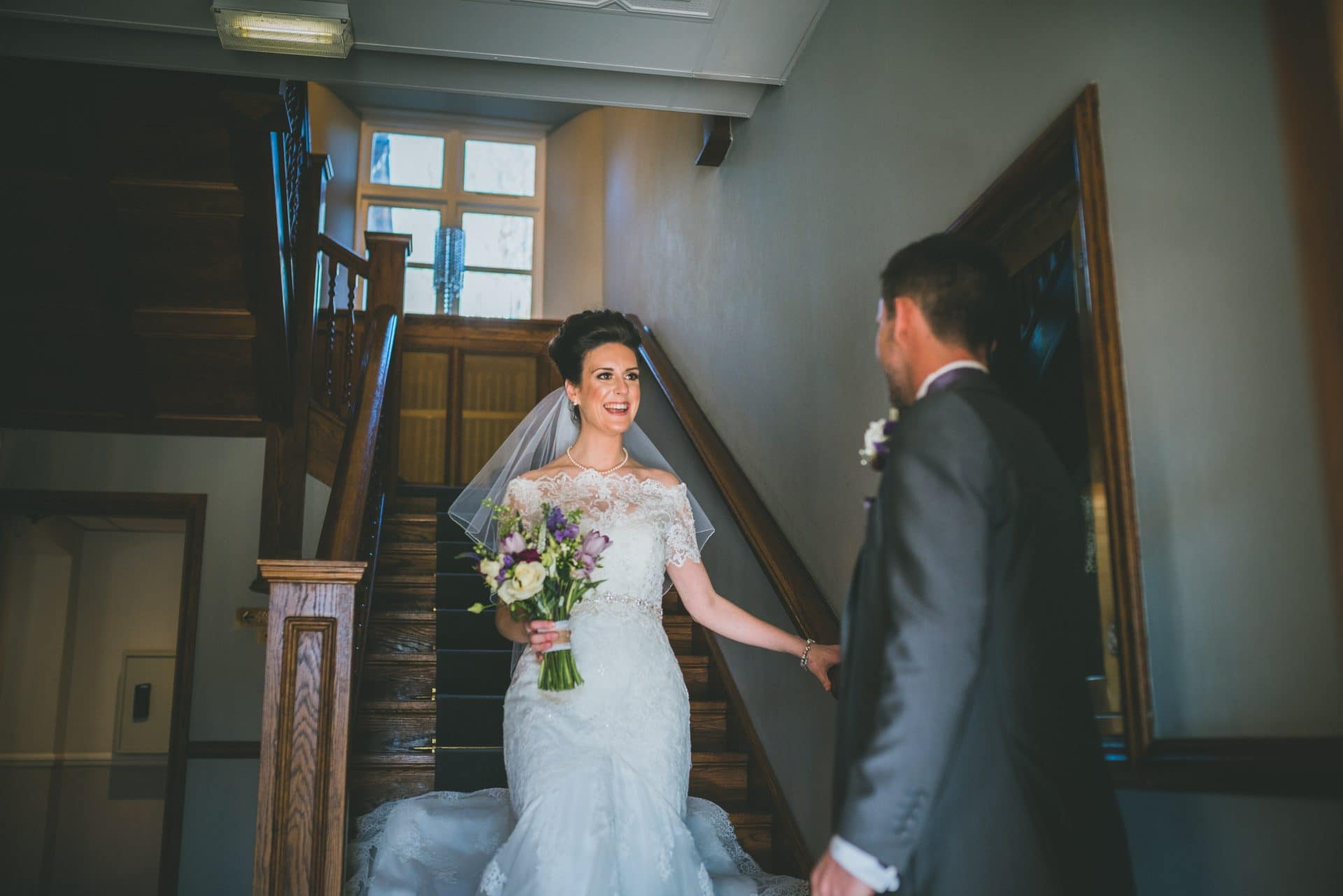 Bryngarw House wedding photography of bride seeing her daughter in her wedding dress