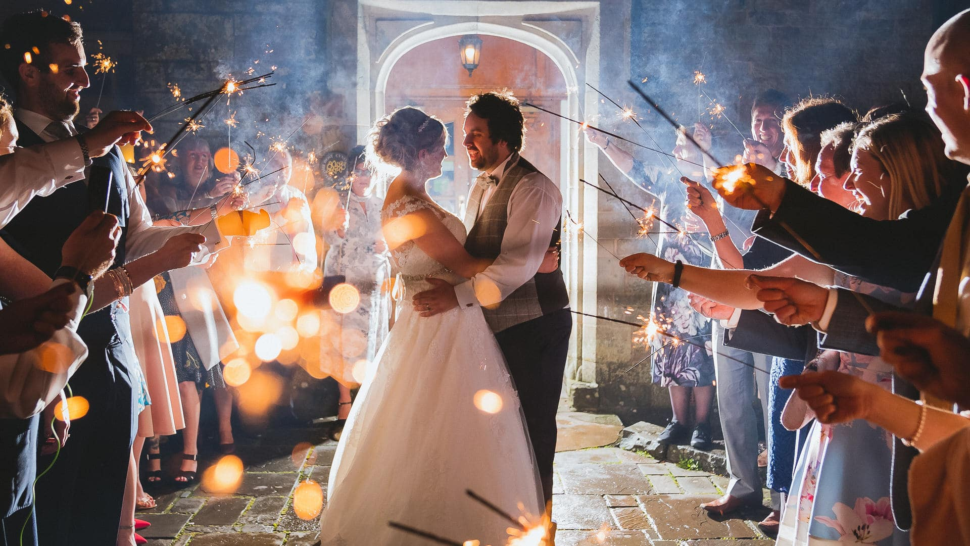 Wedding sparklers at Bryngarw House