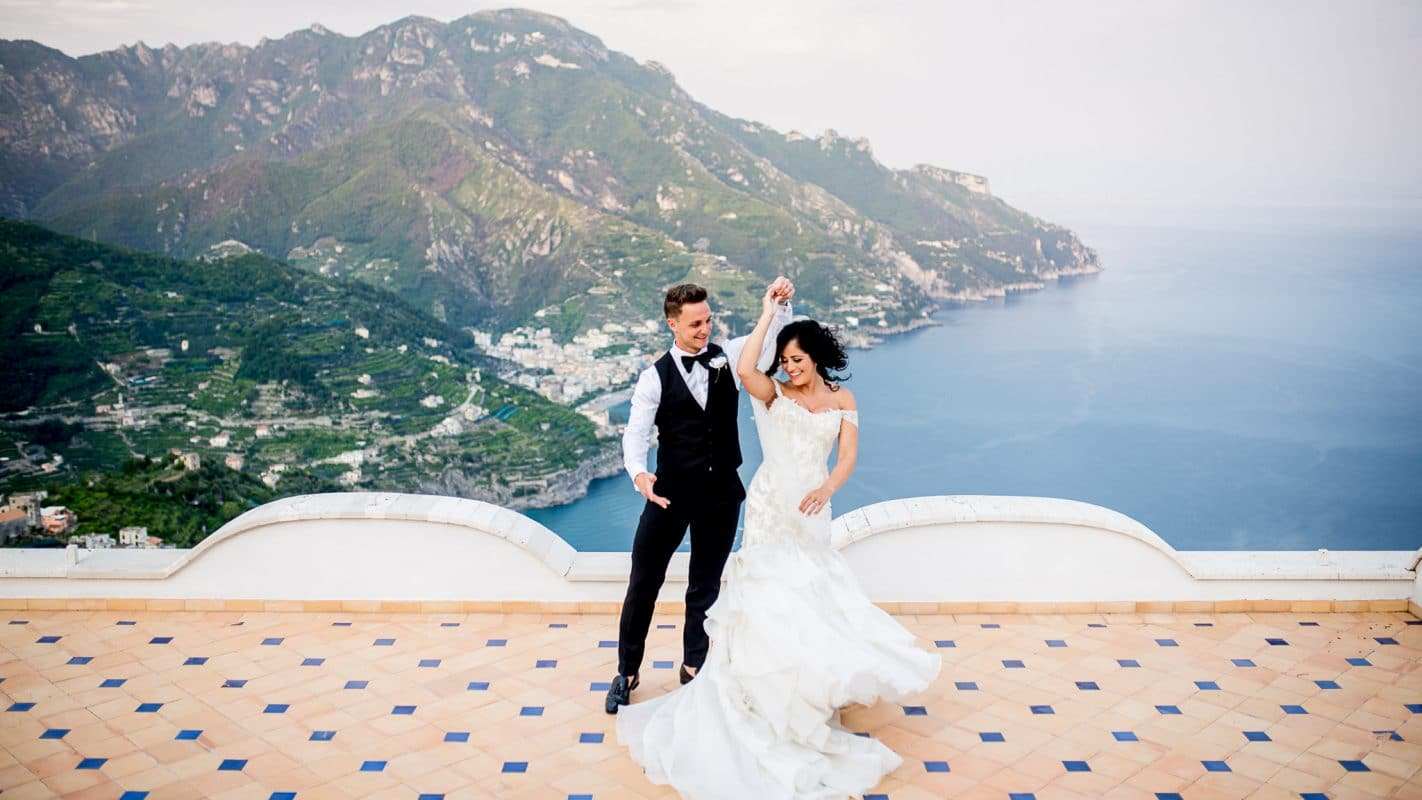 best wedding photography ravello wedding in Italy on balcony at Villa eva