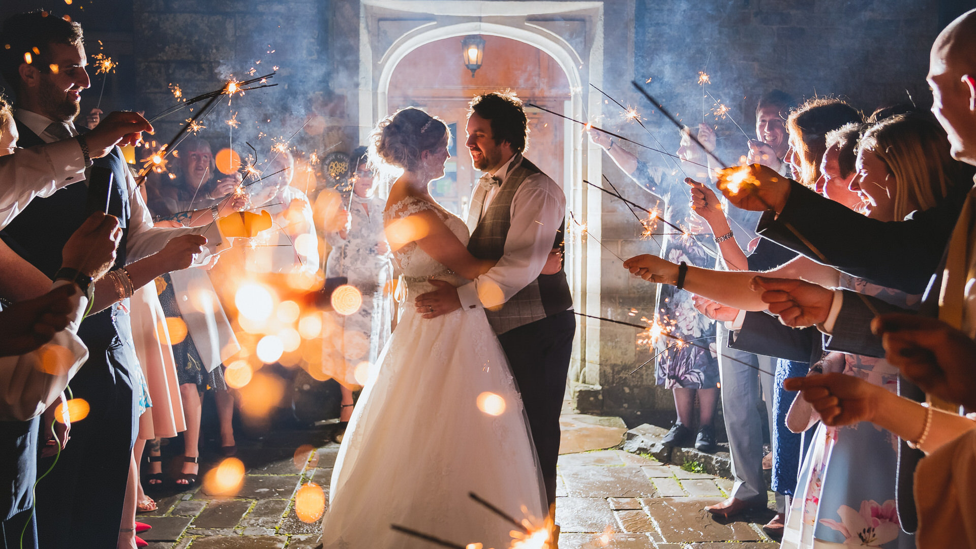 Wedding Photographers Cardiff at Bryngarw House with Sparklers